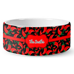 Chili Peppers Ceramic Dog Bowl (Personalized)