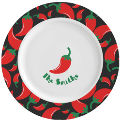 Chili Peppers Ceramic Dinner Plates (Set of 4) (Personalized)