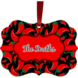 Chili Peppers Metal Frame Ornament - Double Sided w/ Name or Text