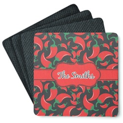 Chili Peppers 4 Square Coasters - Rubber Backed (Personalized)