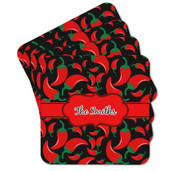 Chili Peppers Cork Coaster - Set of 4 w/ Name or Text