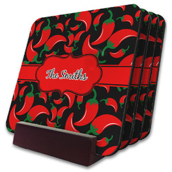 Chili Peppers Coaster Set w/ Stand (Personalized)