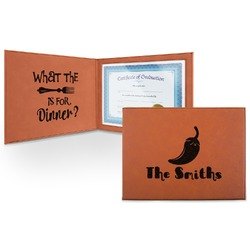 Chili Peppers Leatherette Certificate Holder (Personalized)