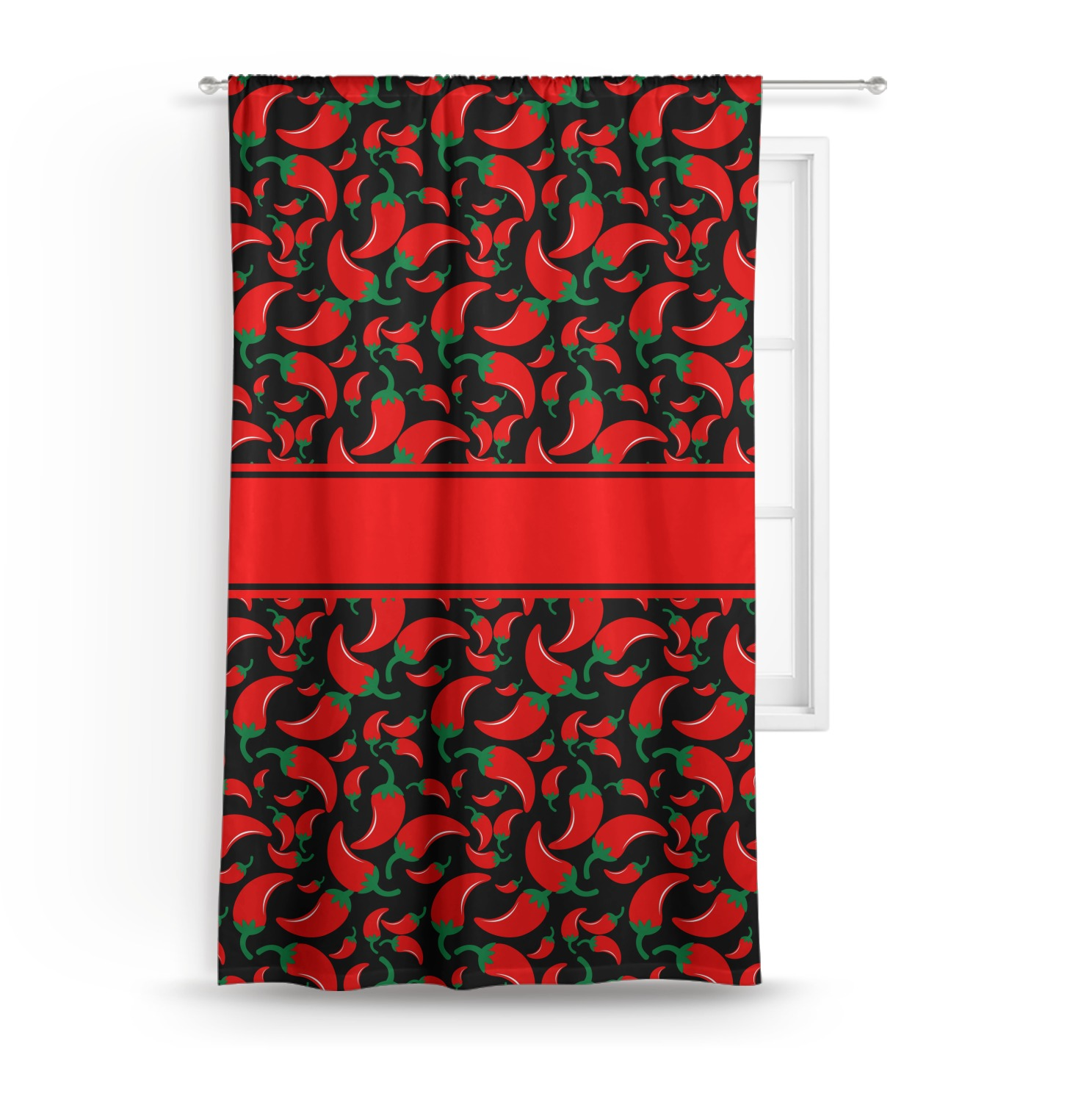 Chili Pepper Kitchen Curtains: Chili Peppers Curtain (Personalized)