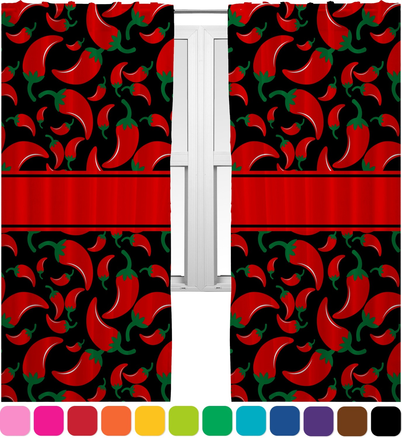 Chili Pepper Kitchen Curtains: Chili Peppers Curtains (2 Panels Per Set) (Personalized