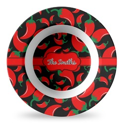 Chili Peppers Plastic Bowl - Microwave Safe - Composite Polymer (Personalized)