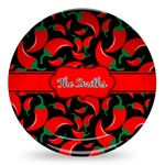 Chili Peppers Microwave Safe Plastic Plate - Composite Polymer (Personalized)
