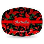 Chili Peppers Plastic Platter - Microwave & Oven Safe Composite Polymer (Personalized)