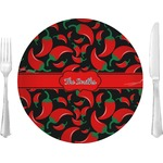 """Chili Peppers Glass Lunch / Dinner Plates 10"""" - Single or Set (Personalized)"""