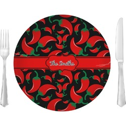 """Chili Peppers 10"""" Glass Lunch / Dinner Plates - Single or Set (Personalized)"""