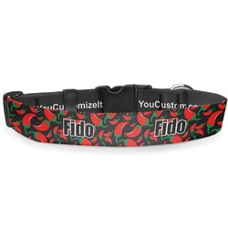 "Chili Peppers Deluxe Dog Collar - Large (13"" to 21"") (Personalized)"