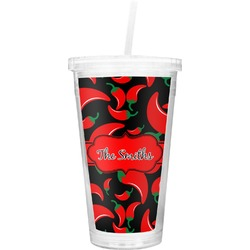Chili Peppers Double Wall Tumbler with Straw (Personalized)