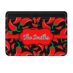 Chili Peppers Genuine Leather Front Pocket Wallet (Personalized)