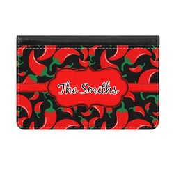 Chili Peppers Genuine Leather ID & Card Wallet - Slim Style (Personalized)