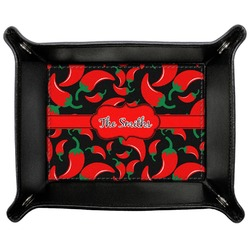 Chili Peppers Genuine Leather Valet Tray (Personalized)