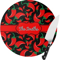 Chili Peppers Round Glass Cutting Board (Personalized)