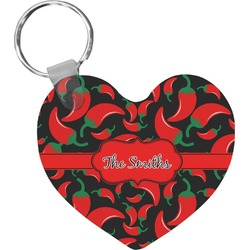 Chili Peppers Heart Keychain (Personalized)