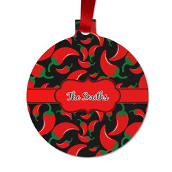 Chili Peppers Metal Ball Ornament - Double Sided w/ Name or Text