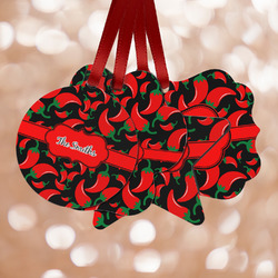 Chili Peppers Metal Ornaments - Double Sided w/ Name or Text