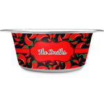 Chili Peppers Stainless Steel Dog Bowl (Personalized)