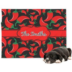 Chili Peppers Minky Dog Blanket - Large  (Personalized)