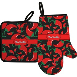 Chili Peppers Oven Mitt & Pot Holder (Personalized)