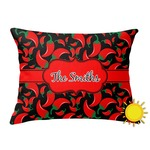 Chili Peppers Outdoor Throw Pillow (Rectangular) (Personalized)