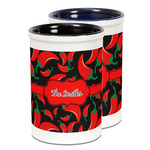 Chili Peppers Ceramic Pencil Holder - Large