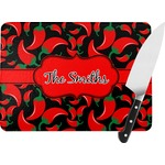 "Chili Peppers Rectangular Glass Cutting Board - Medium - 11""x8"" (Personalized)"