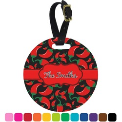 Chili Peppers Round Luggage Tag (Personalized)