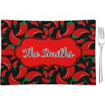 Chili Peppers Glass Rectangular Appetizer / Dessert Plate - Single or Set (Personalized)