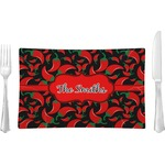 Chili Peppers Glass Rectangular Lunch / Dinner Plate - Single or Set (Personalized)