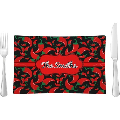 Chili Peppers Rectangular Glass Lunch / Dinner Plate - Single or Set (Personalized)