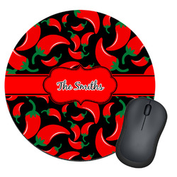 Chili Peppers Round Mouse Pad (Personalized)
