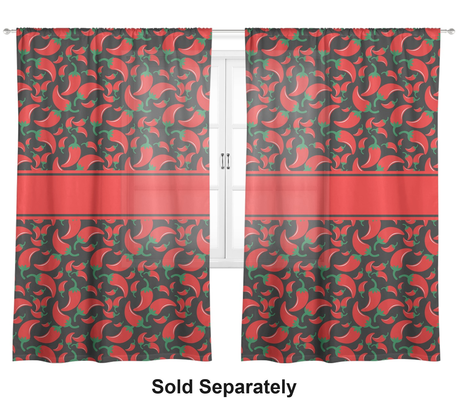 Chili Pepper Kitchen Curtains: Chili Peppers Sheer Curtains (Personalized)