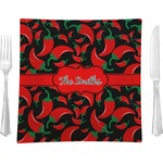 """Chili Peppers Glass Square Lunch / Dinner Plate 9.5"""" - Single or Set of 4 (Personalized)"""