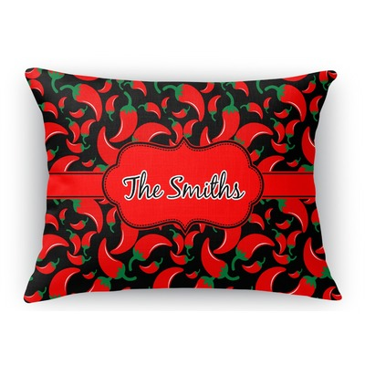 Rectangular Throw Pillow Dimensions : Chili Peppers Rectangular Throw Pillow (Personalized) - YouCustomizeIt