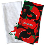 Chili Peppers Waffle Weave Kitchen Towel (Personalized)