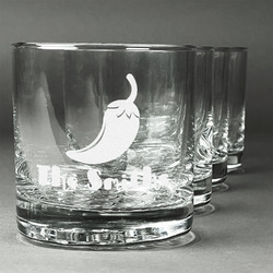 Chili Peppers Whiskey Glasses (Set of 4) (Personalized)