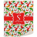 Colored Peppers Sherpa Throw Blanket (Personalized)