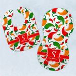 Colored Peppers Baby Bib & Burp Set w/ Name and Initial