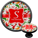 Colored Peppers Cabinet Knob (Black) (Personalized)