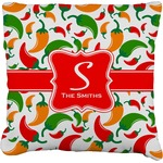 Colored Peppers Faux-Linen Throw Pillow (Personalized)