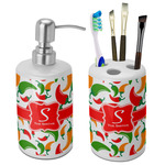Colored Peppers Ceramic Bathroom Accessories Set (Personalized)