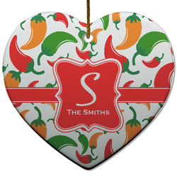 Colored Peppers Heart Ceramic Ornament w/ Name and Initial