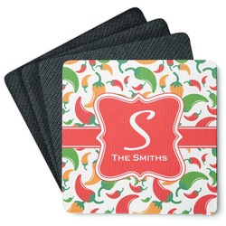 Colored Peppers 4 Square Coasters - Rubber Backed (Personalized)