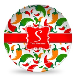 Colored Peppers Microwave Safe Plastic Plate - Composite Polymer (Personalized)