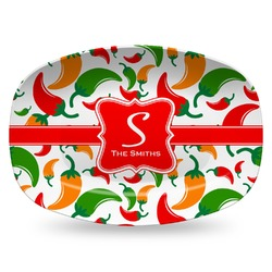 Colored Peppers Plastic Platter - Microwave & Oven Safe Composite Polymer (Personalized)