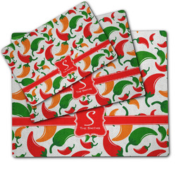 Colored Peppers Dog Food Mat w/ Name and Initial