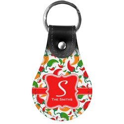 Colored Peppers Genuine Leather  Keychain (Personalized)